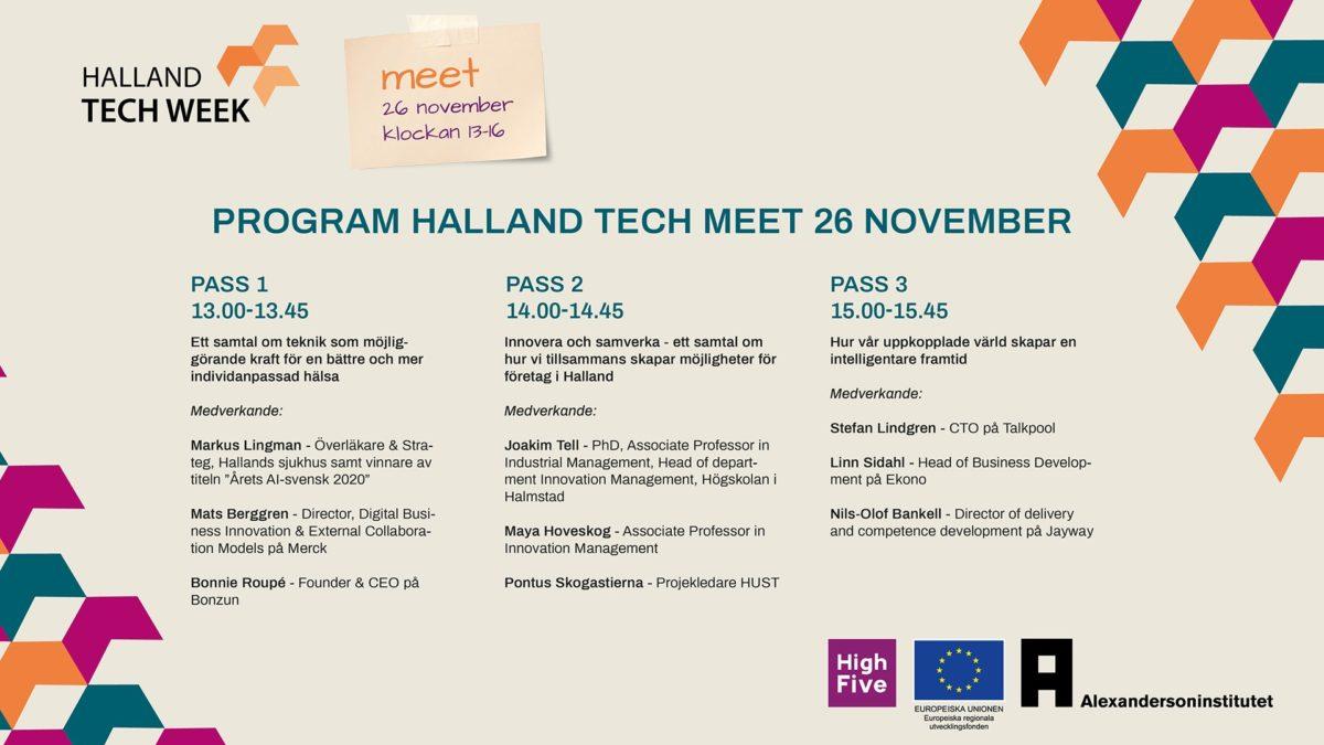 Programpunkter under halland tech meet hösten 2020