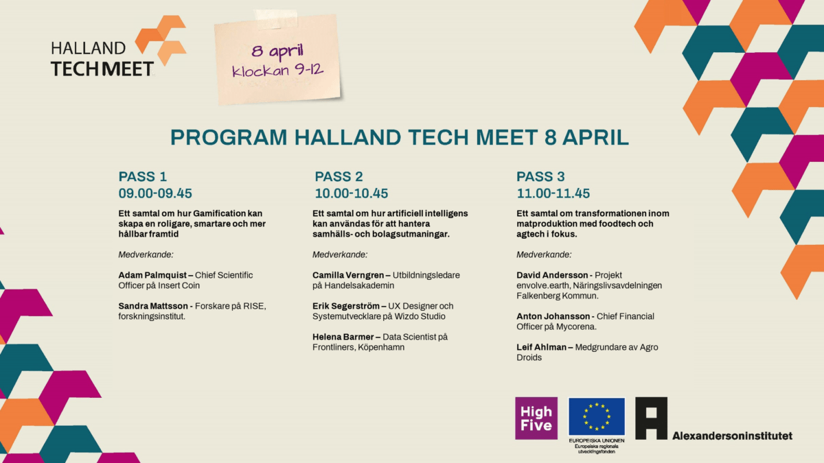 Programpunkter under Halland Tech Meet den 8 april 2021.