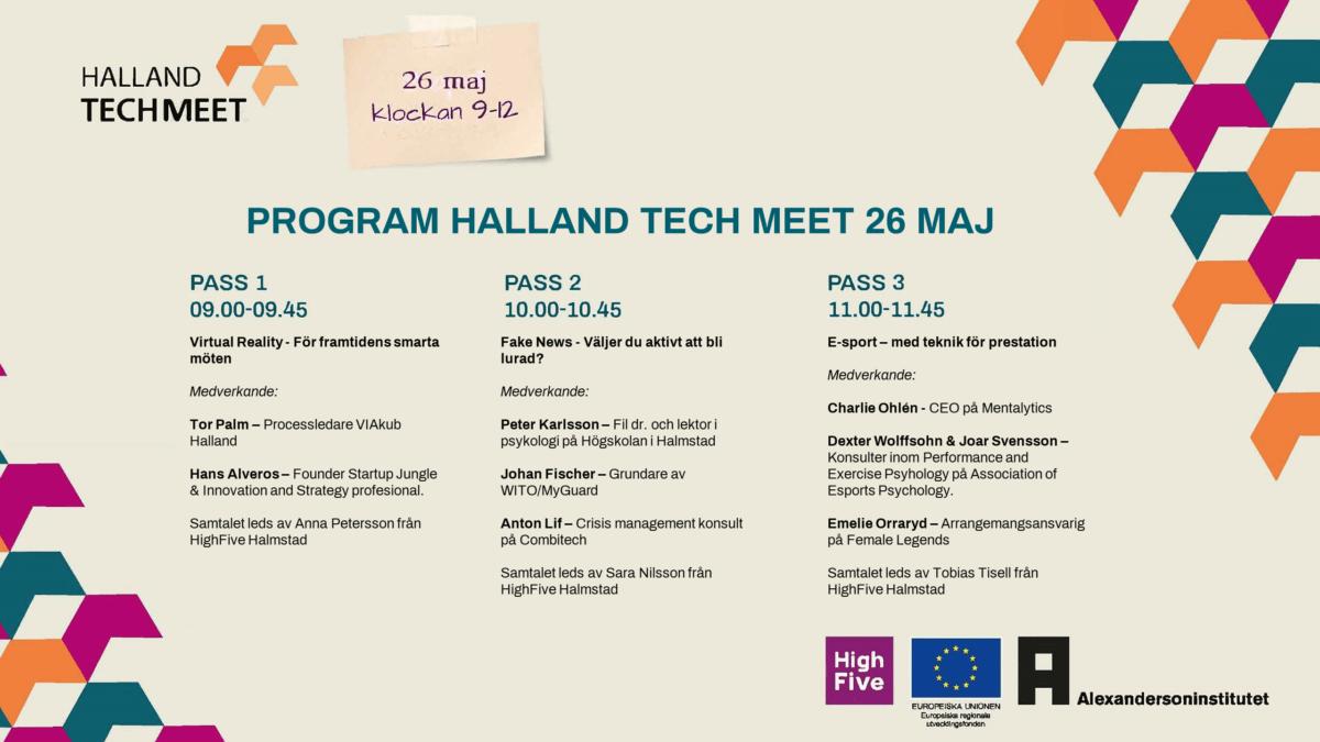 Programpunkter under Halland Tech Meet den 26 maj 2021.