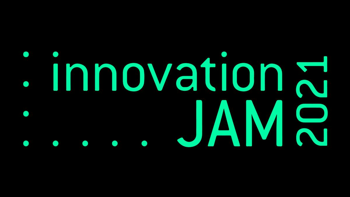 Svart bakgrund med texten Innovation Jam 2021 i neongrönt.