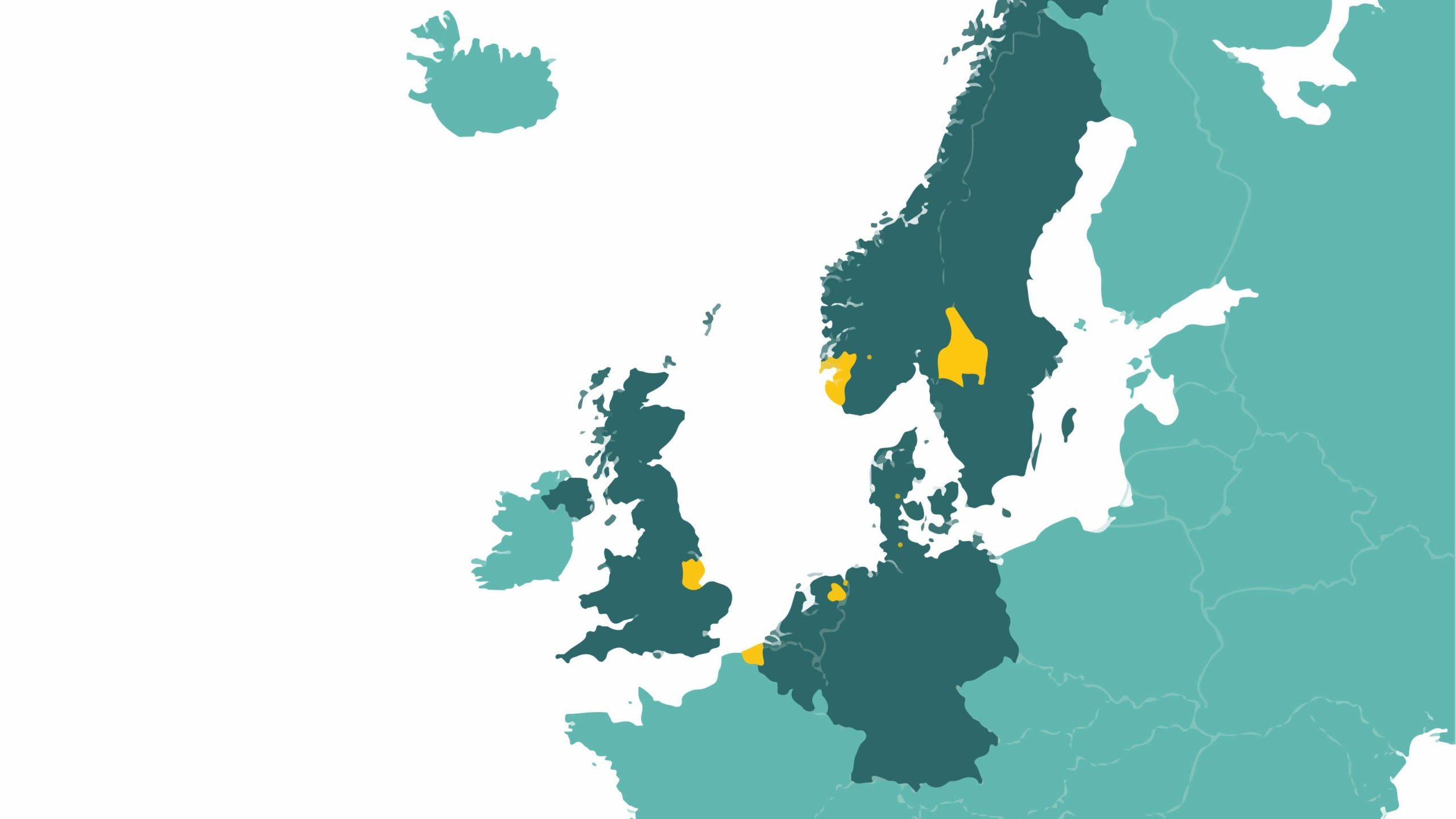 Karta över norra Europa med Norge, sverige, Danmark, Storbritannien, Tyskland, Nederländerna och Belgien markerade.