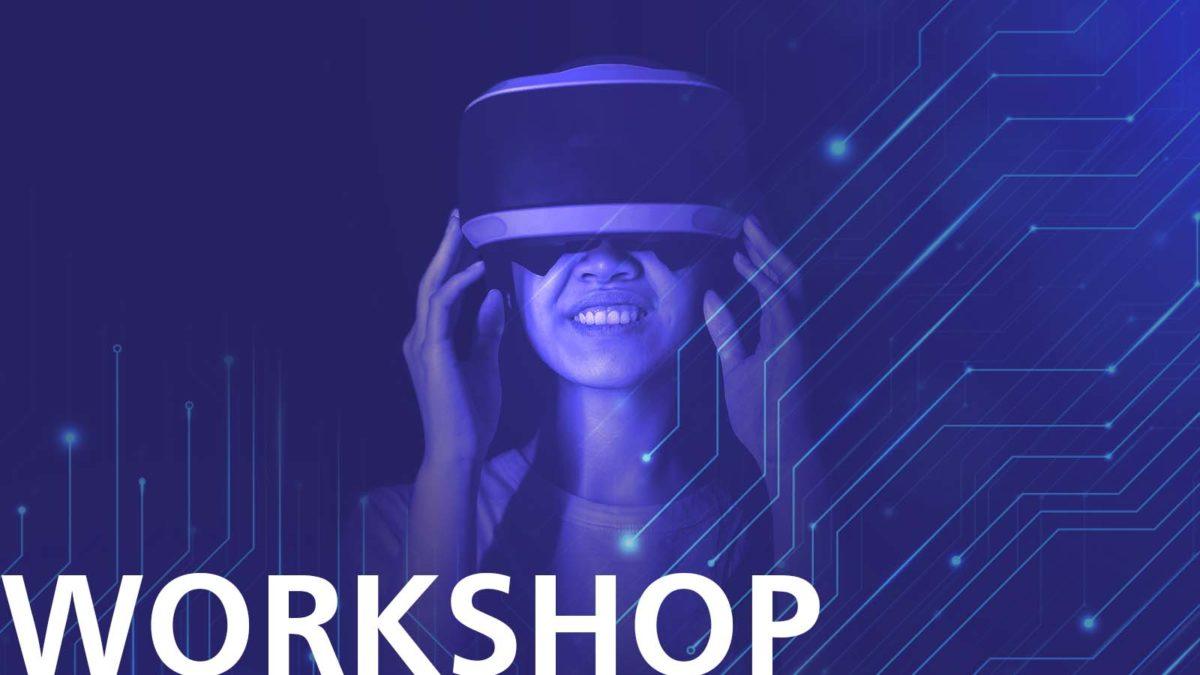 Lila-tonad bild med en massa noder som sträcker sig från kanterna. I centrum står en person med ett VR-headset på sig. Texten Workshop står längst ner till vänster.